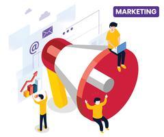 Marketing Isometrico Artwork Concept vettore