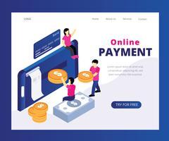 Concetto isometrico del materiale illustrativo di pagamento online