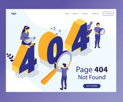 404 Pagina Isometrica Artwork Concept vettore