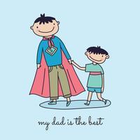 Super-Father & Son Doodle vettore