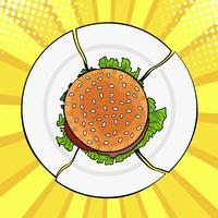 Burger sul piatto rotto, fast food pesante. Dieta e alimentazione sana. Illustrazione vettoriale colorato in stile fumetto retrò di pop art