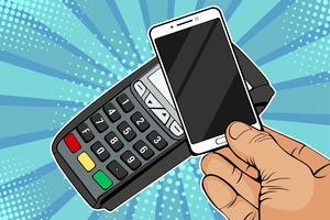Terminale POS, macchina di pagamento con telefono cellulare. Pagamento senza contatto con tecnologia NFC. Illustrazione vettoriale colorato in stile fumetto retrò di pop art