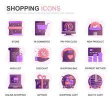 Set moderno Shopping e icone piatte gradiente e-commerce per applicazioni web e mobili. Contiene icone come consegna, metodo di pagamento, negozio, commercio. Icona piana di colore concettuale. Pacchetto di pittogrammi vettoriale. vettore