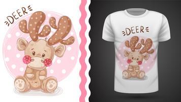 Cervo carino - idea per t-shirt stampata. vettore