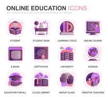 Set di icone piatte moderne di educazione e conoscenza piatte per applicazioni Web e mobili. Contiene icone come il corso online, l'università, lo studio, il libro. Icona piana di colore concettuale. Pacchetto di pittogrammi vettoriale.