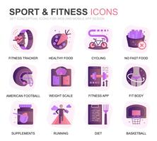 Set moderno icone piane di fitness e sport per applicazioni web e mobili. Contiene icone come Fit Body, Swimming, Fitness App, Supplementi. Icona piana di colore concettuale. Pacchetto di pittogrammi vettoriale. vettore