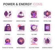 Set di icone piatte per applicazioni web e per dispositivi mobili. Contiene icone come pannello solare, energia ecologica, centrale elettrica. Icona piana di colore concettuale. Pacchetto di pittogrammi vettoriale.