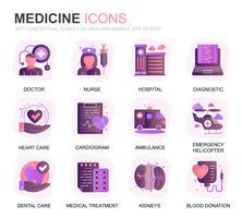 Set moderno Icone piane di gradienti di assistenza sanitaria e medicina per applicazioni Web e mobili. Contiene icone come medico, ospedale, attrezzature mediche. Icona piana di colore concettuale. Pacchetto di pittogrammi vettoriale.