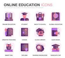Set di icone piatte moderne di educazione e conoscenza piatte per applicazioni Web e mobili. Contiene icone come Studiare, Scuola, Laurea, E-Book. Icona piana di colore concettuale. Pacchetto di pittogrammi vettoriale.