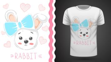 Simpatico coniglio con cuore - idea per t-shirt stampata vettore