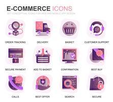 Set moderno icone e-commerce e shopping gradiente piatte per applicazioni web e mobile. Contiene icone come consegna, pagamento, carrello, cliente, negozio. Icona piana di colore concettuale. Pacchetto di pittogrammi vettoriale. vettore