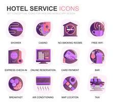 Servizi moderni Set Hotel Servizi Icone piatte sfumate per applicazioni Web e mobili. Contiene icone come bagagli, reception, servizi in camera, centro fitness. Icona piana di colore concettuale. Pacchetto di pittogrammi vettoriale.
