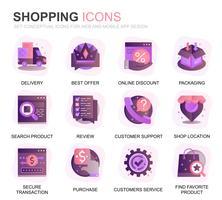 Set moderno Shopping e icone piatte gradiente e-commerce per applicazioni web e mobili. Contiene icone come consegna, metodo di pagamento, negozio, commercio. Icona piana di colore concettuale. Pacchetto di pittogrammi vettoriale.
