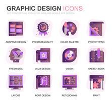 Set moderno icone Web e grafica Gradiente icone piatte per applicazioni Web e mobili. Contiene icone come Studio, Strumenti, Sviluppo App, Ritocco. Icona piana di colore concettuale. Pacchetto di pittogrammi vettoriale.