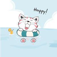 simpatico gatto felice in anello di vita sul mare disegno vettoriale
