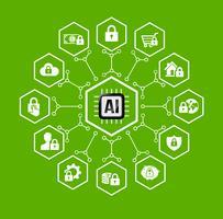 AI Intelligenza artificiale Tecnologia per protezione e sicurezza icona e elemento di design vettore