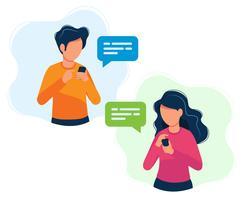Uomo e donna con gli smartphone. Illustrazione di concetto, messaggistica, messaggistica, chat, social media, assistenza clienti, incontri, comunicazione. vettore
