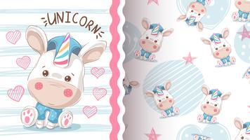Carino amore unicorno - seamless. vettore