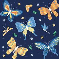 Ornamento dell'acquerello Farfalle, insetto, foglie e fiore Elemento