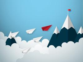 Il concetto di direzione con la carta rossa e bianca ha tagliato l'aeroplano di stile vettore