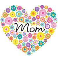 grafico del cuore del fiore di festa della mamma vettore