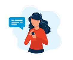 Donna con smartphone. Illustrazione vettoriale colorato luminoso.