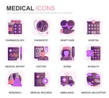 Set di icone piatte moderne di assistenza sanitaria e medica per applicazioni Web e mobili. Contiene icone come ambulanza, pronto soccorso, ricerca, ospedale. Icona piana di colore concettuale. Pacchetto di pittogrammi vettoriale.