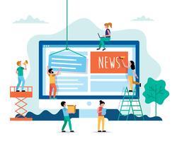 Notizie, illustrazione di concetto di notizie di Internet in stile piano. Persone che lavorano sul sito