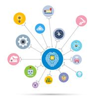 Icona di tecnologia di intelligenza artificiale AI impostata in forma di cerchio