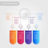 Dati aziendali infografica, processo grafico con 4 passaggi