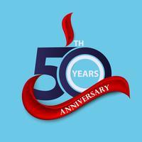 Simbolo di celebrazione del segno e logo 50 ° anniversario con nastro rosso vettore