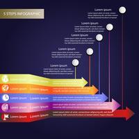 Dati aziendali infographic, diagramma di processo con 5 punti, vettore ed illustrazione