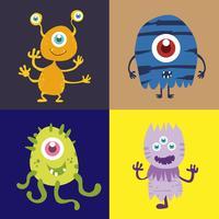 Set di simpatico personaggio dei cartoni animati mostro 002 vettore