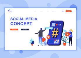 Il concetto moderno del modello di progettazione della pagina di web piano di media sociali ha decorato il carattere della gente per il sito Web e lo sviluppo del sito Web mobile. Modello di pagina di destinazione semplice. Illustrazione vettoriale