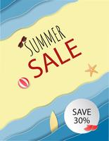 Fondo di vendita di estate con spiaggia e sabbia e decorativo.