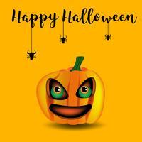 zucca in Halloween su sfondo arancione, vettoriale e illustrazione