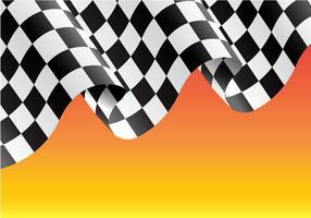 Volo a quadretti della bandiera sull'illustrazione gialla di vettore del fondo del campione della corsa di progettazione.