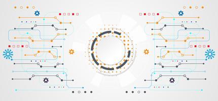 concetto astratto tecnologia cerchio bianco digitale su sfondo bianco tech hi grigio