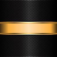 Illustrazione nera di vettore del fondo dell'insegna dell'etichetta dell'oro e della maglia metallica.