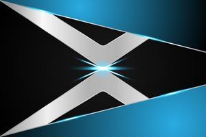 concetto astratto tecnologia sfondo X simbolo metallico blu su hi tech design futuro