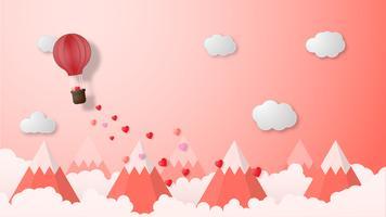 Stile creativo del taglio della carta dell'illustrazione di vettore del fondo di giorno di biglietti di S. Valentino.