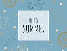 Sfondo di estate illustrazione creativa con contorno frutti tropicali. vettore