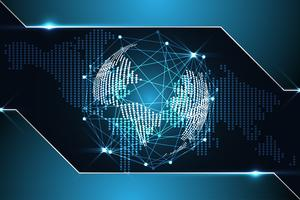 astratto tecnologia sfondo concetto digitale mappa del mondo puntino blu metallico su hi tech design futuro
