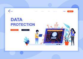 Il concetto moderno del modello di progettazione della pagina di web piano di protezione dei dati ha decorato il carattere della gente per il sito Web e lo sviluppo del sito Web mobile. Modello di pagina di destinazione semplice. Illustrazione vettoriale