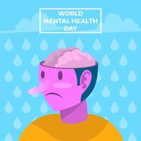 Manifesto di vettore di giorno di salute mentale piatto mondo
