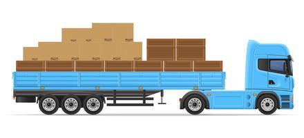 rimorchio dei semi del camion per il trasporto dell'illustrazione di vettore di concetto delle merci