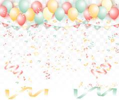 Sullo sfondo di palloncini colorati luminosi. Per San Valentino o matrimonio con amore del testo. vettore