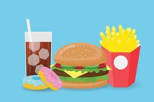 Alimenti a rapida preparazione creativi dell'illustrazione isolati su fondo blu.