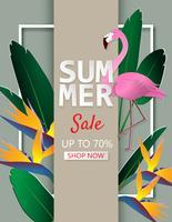 Sfondo di vendita estate illustrazione creativa con foglie tropicali, fiori e fenicotteri in stile carta tagliata.