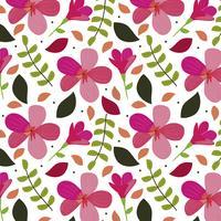 Sfondo di fiori rosa con foglie vettore